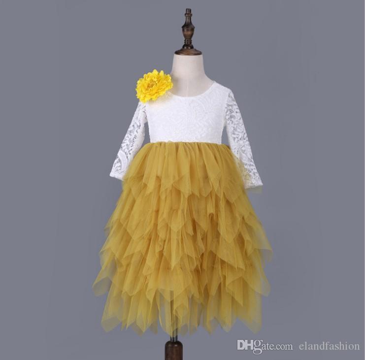 2020 Детские Сладкий цветок с длинным рукавом платье принцессы 6 цветов Девочки Ins с длинным рукавом Мода Кружева Лоскутная торт платье Элегантный бальное платье