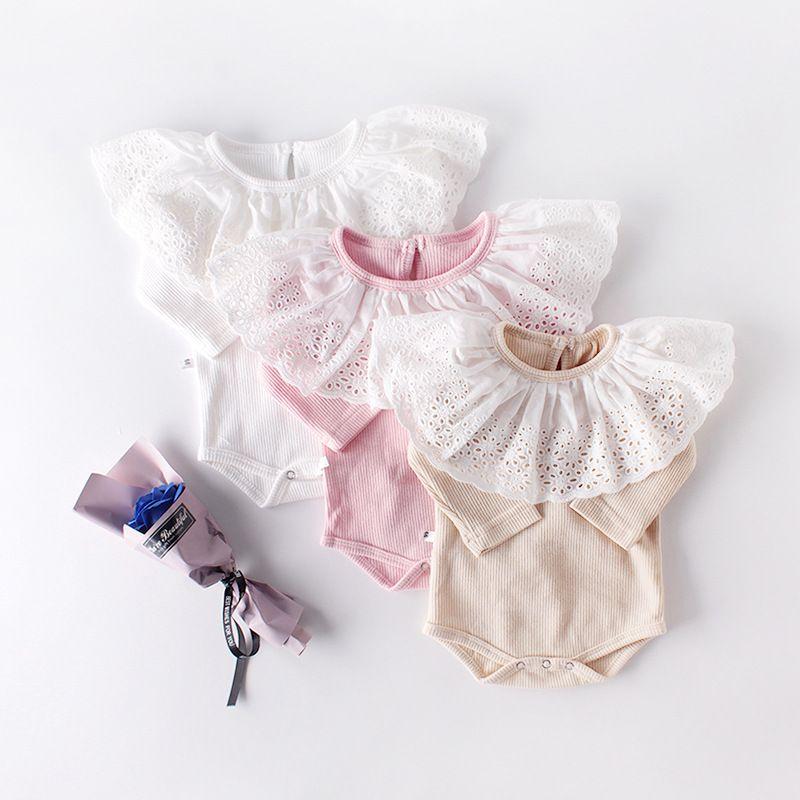 اعتصامات لطيف الاطفال ملابس البنات الرضع رومبير كم طويل الياقة الكبيرة الرباط الطفل تسلق 100٪ القطن ذات جودة عالية رومبير الصيف