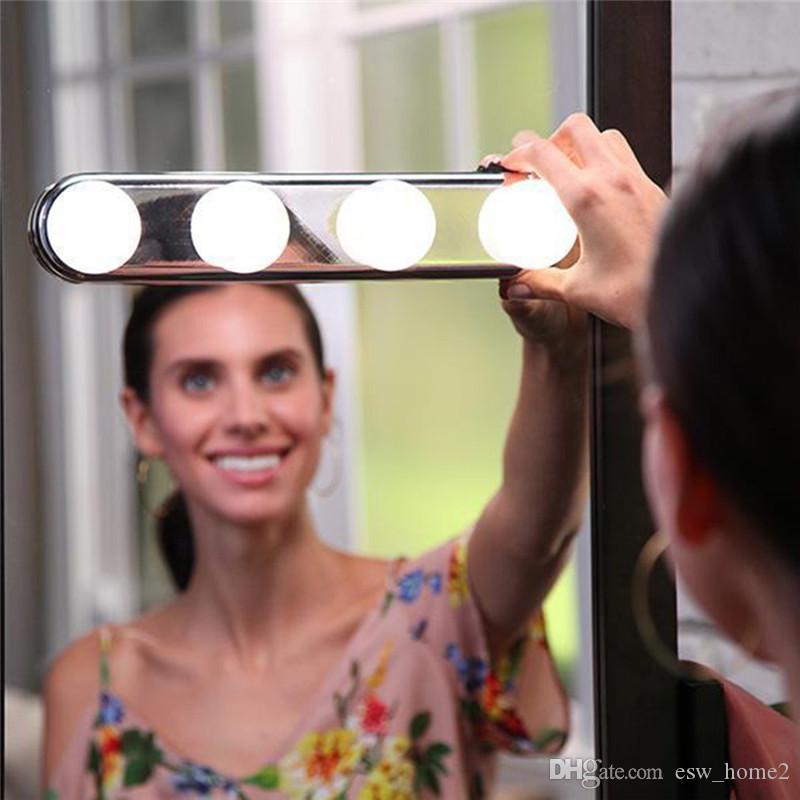 Stüdyo Glow Makyaj Aydınlatma Süper Parlak 4 LED Ampuller Taşınabilir Kozmetik Ayna Işık Kiti Akülü Makyaj Işık