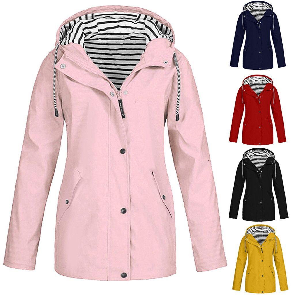 Women Solid Rain Jacket Outdoor Plus Size Waterproof Hooded Raincoat Windproof