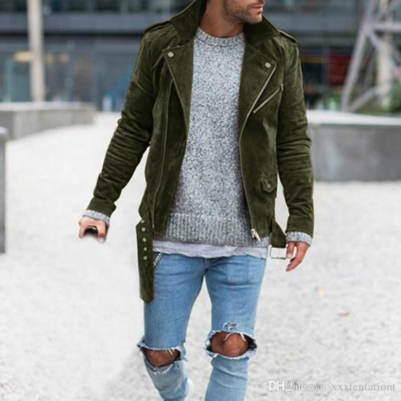 Fashion Solid Herren Jacke Designer Langarm Herbst Jacke mit Gürtel beiläufige Reißverschluss Herren-Jacken