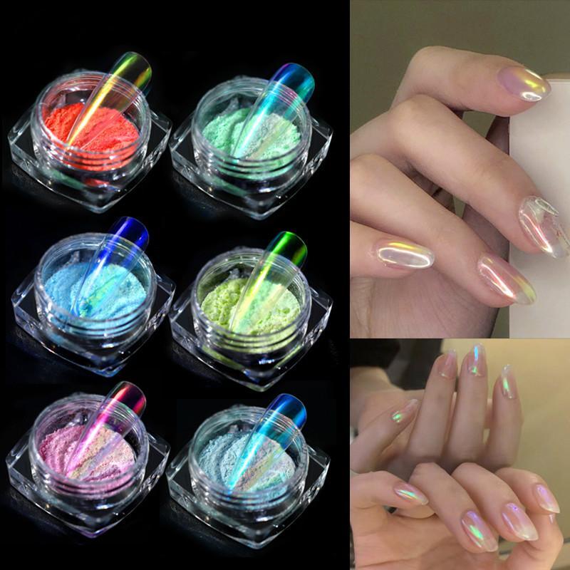 Semi Transparent Aurora Mermaid Powders Nail Art Nu Caméléon Nail Neon Pigments Unicorn Glitters Décorations manucure