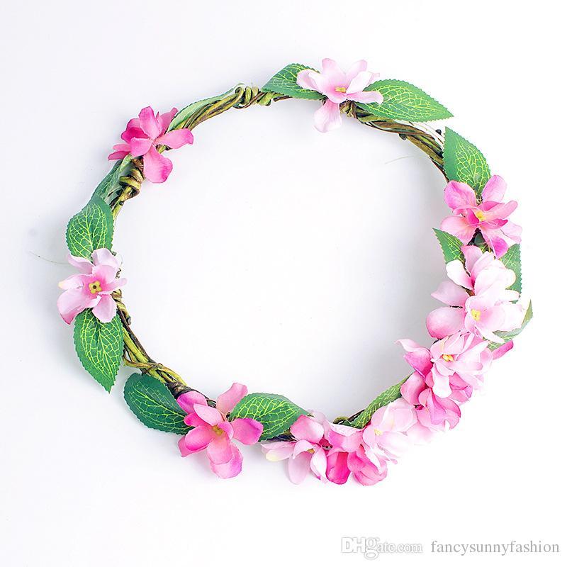 Corona de flores Anti-alergia Artificial ratán diademas para las mujeres niña fiesta de la bola de la boda festival de maternidad imagen cabeza guirnalda del pelo corona