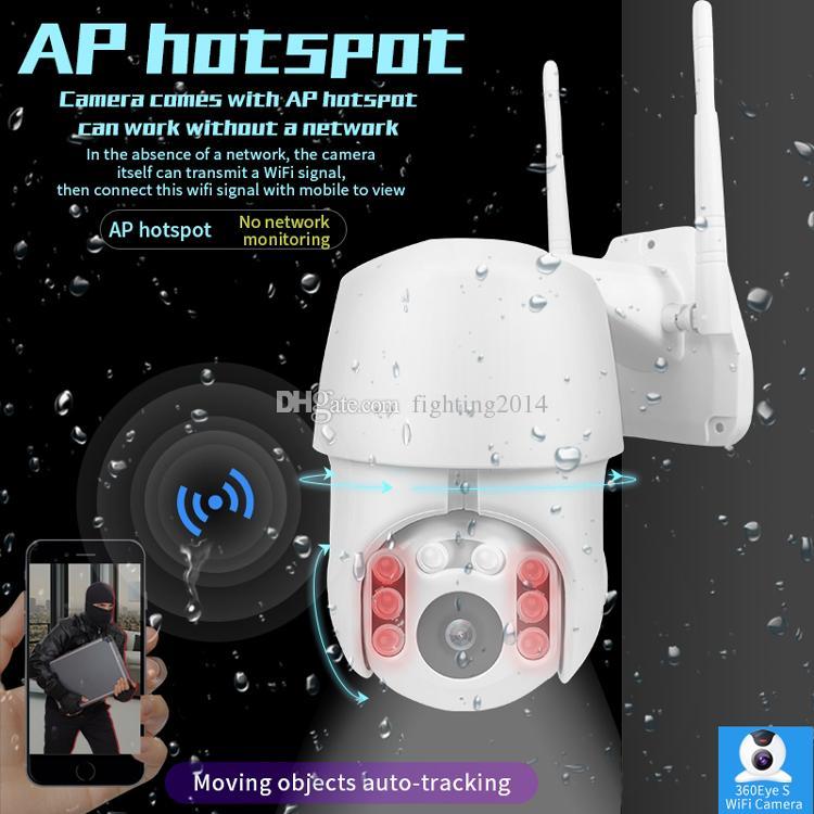 HD 1080P 야외 PTZ 무선 IP 카메라 이동 감지 적외선 나이트 비전 방수 감시 캠코더 RJ45 / 와이파이 돔 CCTV 카메라