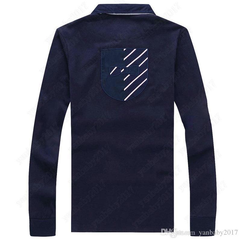 Francia Marca 2019 Poloshirt ufficio uomini di lusso Polo maniche lunghe uomo di base superiore del cotone Polo Per progettista di marca Eden Park camice M-3XL