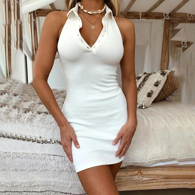 Sexy Backless Halter Polo Dress Button V Neck Bodycon Dresses Solid Color Fashion Skinny Summer Dresses