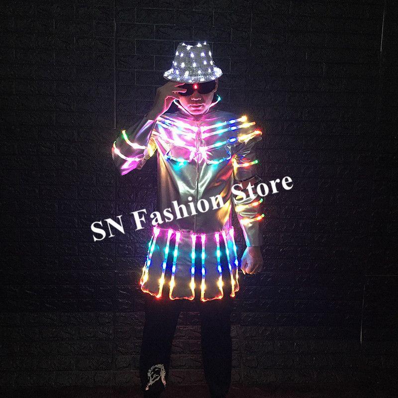 M20 Ballroom dance led costumes colorful light dj jacket led hats party disco luminous robot suit men glowing clothe dress stage outfits bar