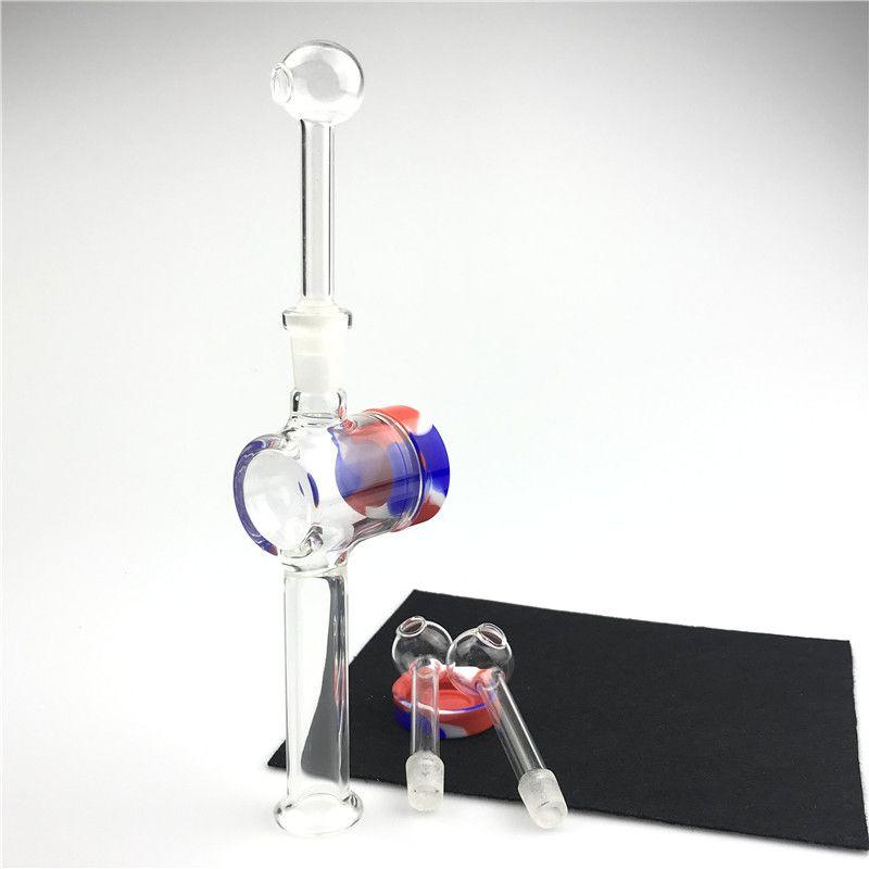 Nuovo vetro Bruciatore di olio Tubo Nettare Collector Consigli Kit con Pyrex 10mm maschio Bruciatore di olio Tubi 10 ml Contenitore in silicone Reclamer Acqua Bongs