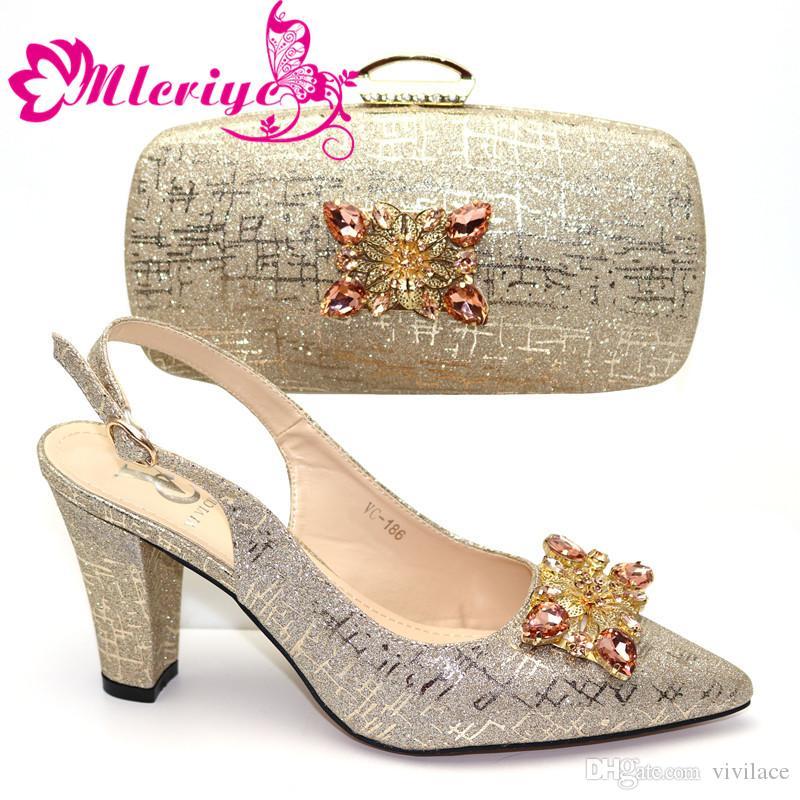 Ultime scarpe italiane con borse set Per Paety nigeriano decorato con strass Tacchi alti scarpe e borsa Set