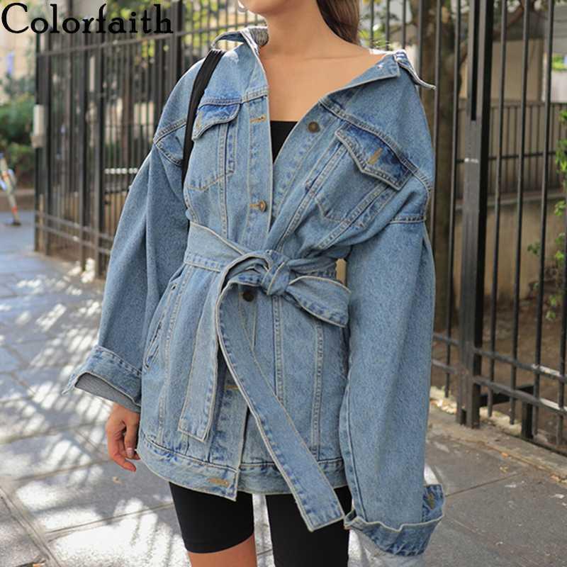 Женские куртки Colorfaithith 2021 осень зимние джинсовые пояса кружева верхняя одежда высокая улица модные синие длинные джинсы JK8922