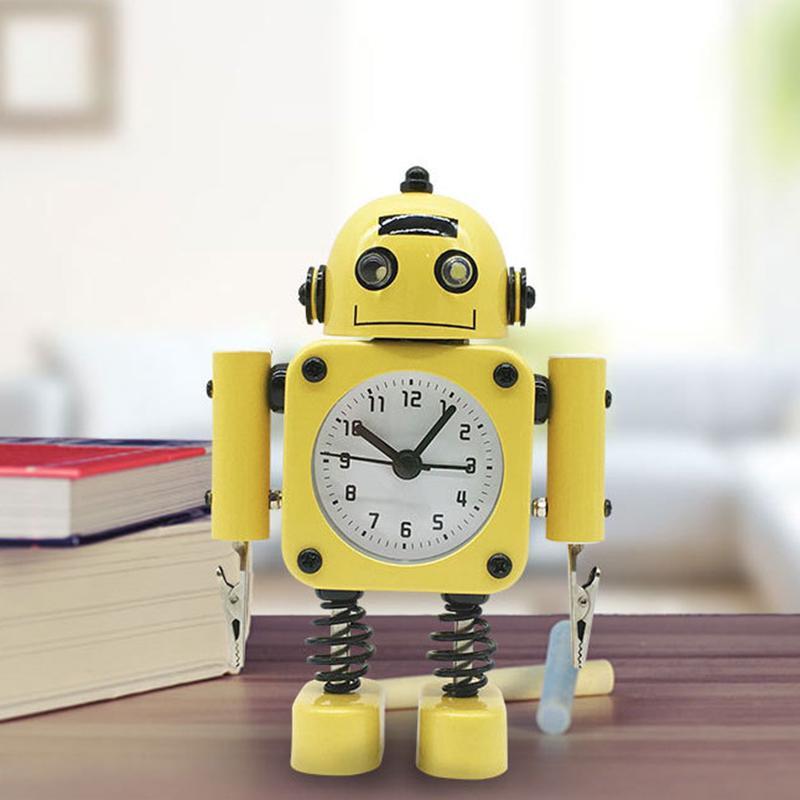 Não Ticking Robot Relógio de metal inoxidável - Wake-Up relógio com Flashing Eye Luzes e Mão Clipe Amarelo