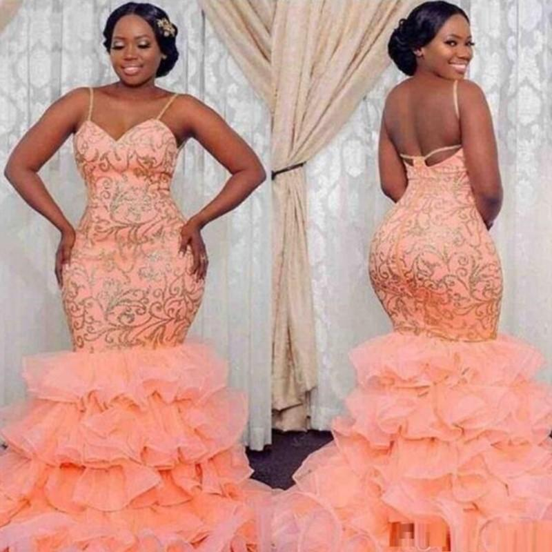 Plus Size Orange Applique Ruffles Mermaid Prom Party Gowns Spaghetti Zipper Back Long Evening Dresses 2019 Custom Made Formal Party Dress