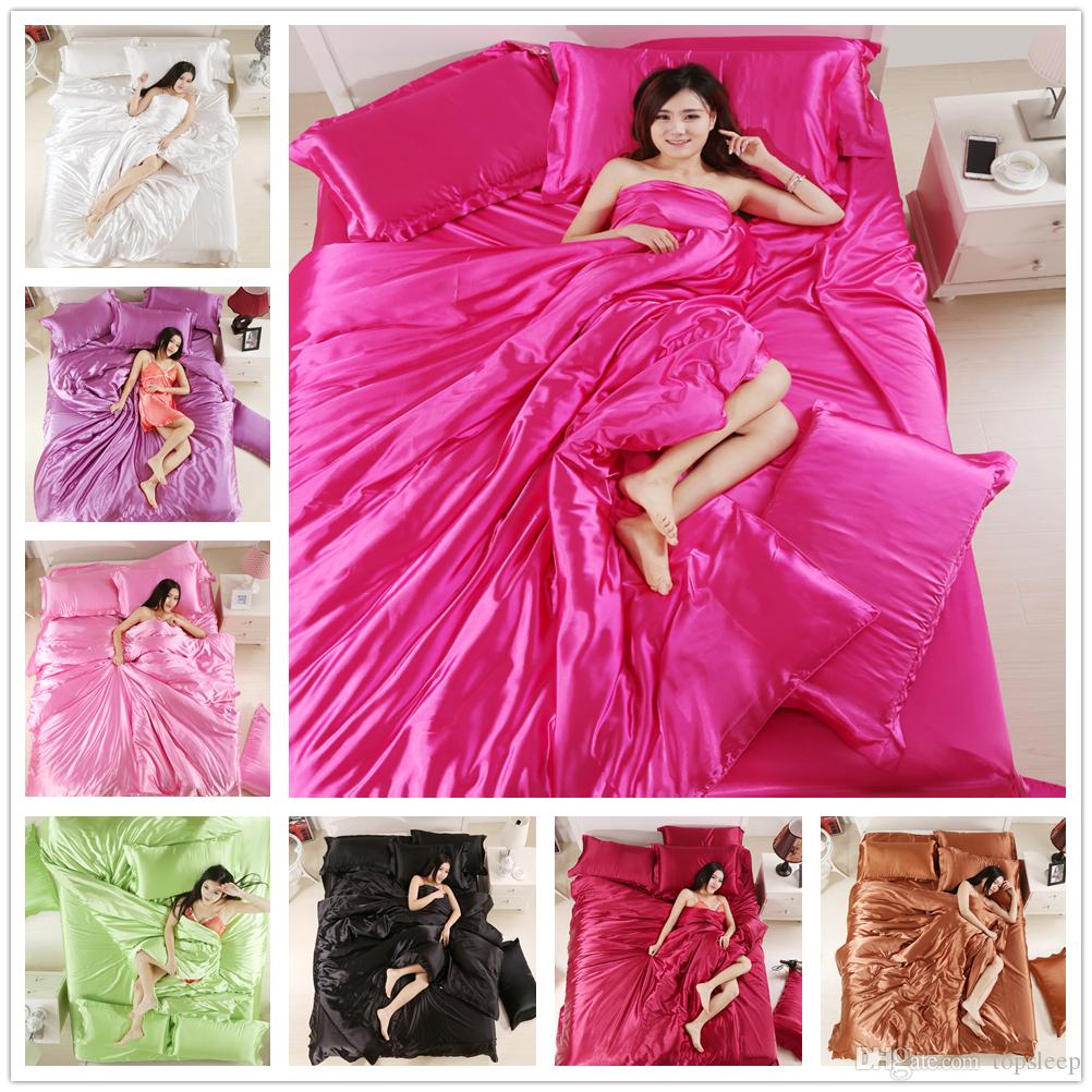 Fashion Mordern 100% silk bedding set Twin Full Queen Size Bedding Supplies 2/3pcs with pillowcase Solid Color of Bed Set Cover