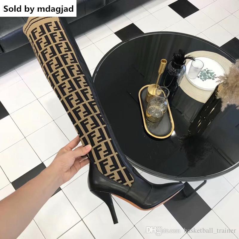 مصمم النساء ماركة الأحذية الثلاثي الأصفر جلد الركبة الأحذية النسائية الفخذ أحذية عالية جورب التمهيد عارضة مع مربع