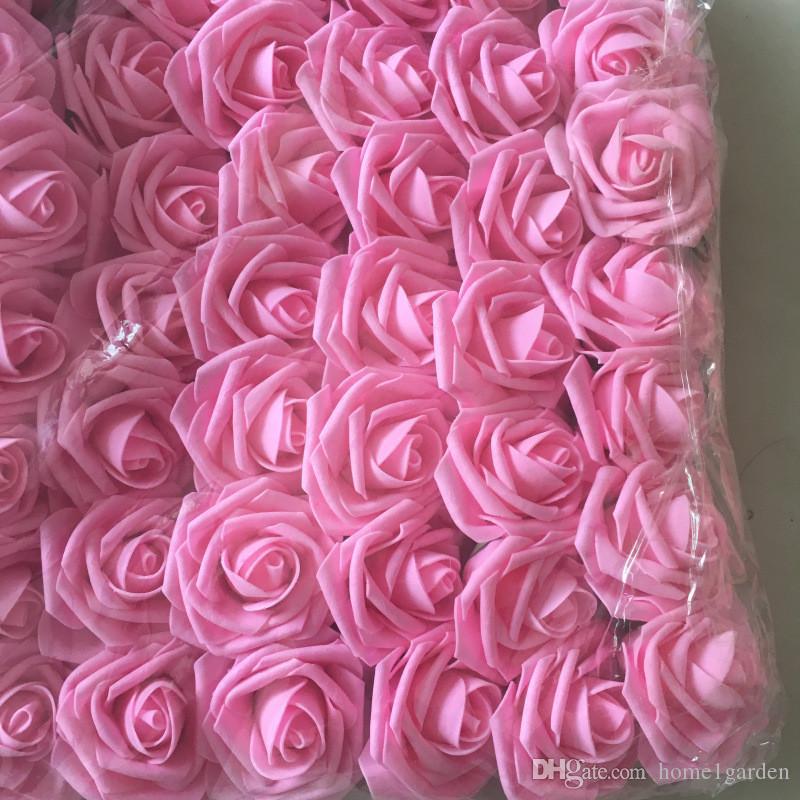 8 CM Schiuma di schiuma artificiale PE Fiori con gambo Sposa Bouquet Home Decor Wedding Decorazioni fai da te 50pcs / lot