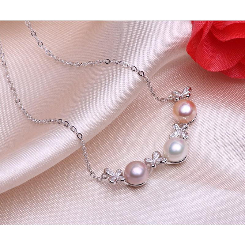ASHIQI 925 Sterling Silver chain necklace women 8-9mm natural Freshwater Pearl Butterfly jewelry