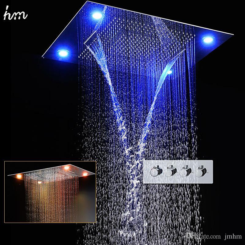 Baño ducha conjunto 600 * 800 mm del techo embed ducha de lluvia Cascada LED con control remoto eléctrico mezclador de la ducha de ducha