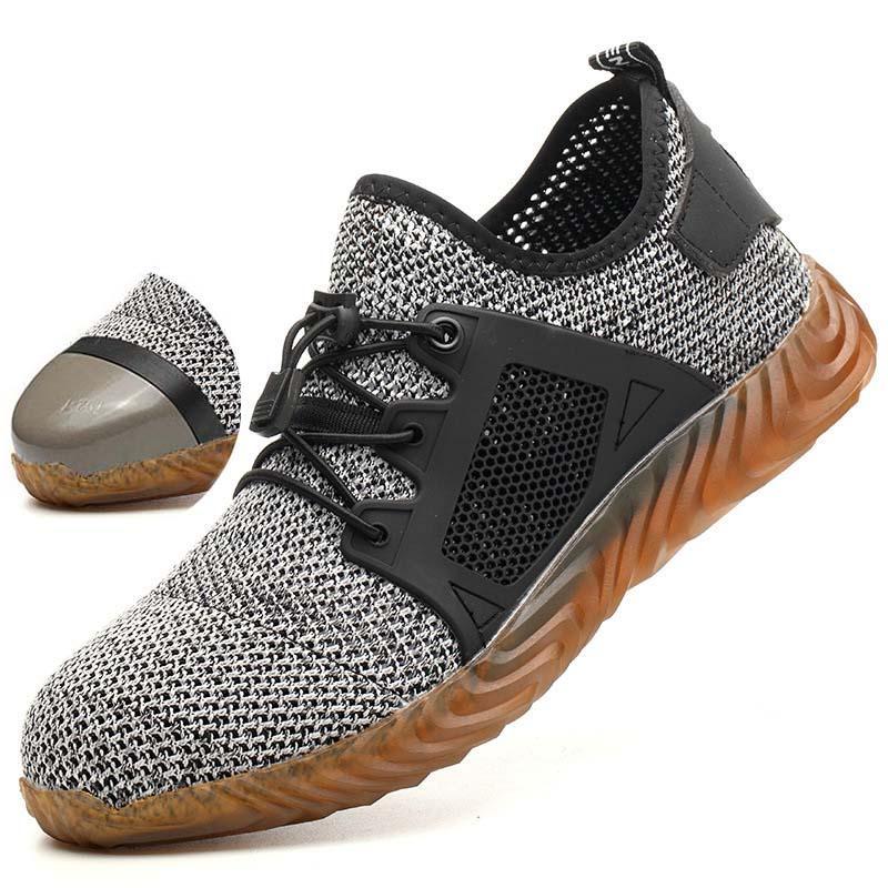 Les hommes et les femmes en acier Toe protection de l'air respirable Bottes de sécurité Mesh hommes léger Chaussures de sport Indestructible anti-perçage Chaussures de travail