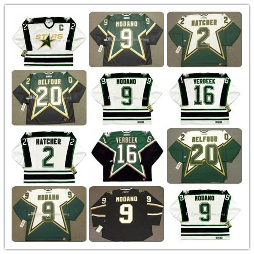 Men Dalla Stars Vintage 1990 CCM Hockey Jerseys 2 DERIAN HATCHER 9 MIKE MODANO 16 PAT VERBEEK 20 ED BELFOUR All Stitched Hot Sale Size S-3XL