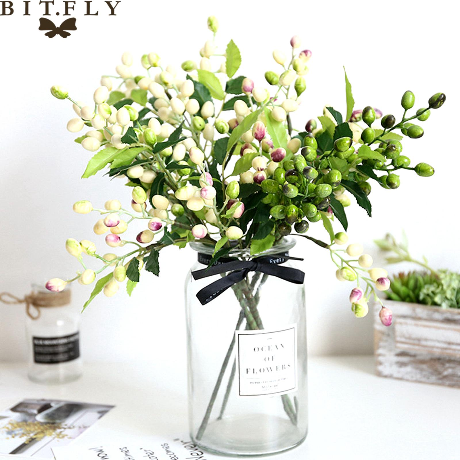 Cheap Artificial & Dried Flowers 1pcs Artificial Olive Bean Flower Tree Branches Fake Plant Bouquet For DIY Birthday Wedding Party Home Room