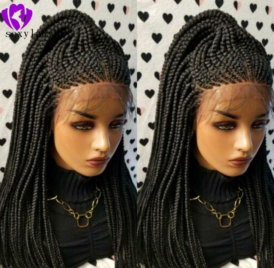 200density llena del cordón Negro frontal trenzas pelucas de alta temperatura del pelo sintético de fibra peluca delantera del cordón trenzado largo Box Trenzas pelucas para mujeres