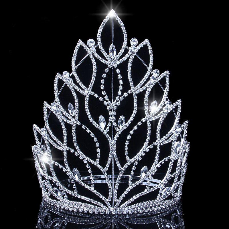 Barok Kral Kraliçe Büyük Tiaras Taçlar Üst Gümüş Kristal Rhinestone Düğün Pageant Gelin Saç Aksesuarları Kafa Kronları JCI108