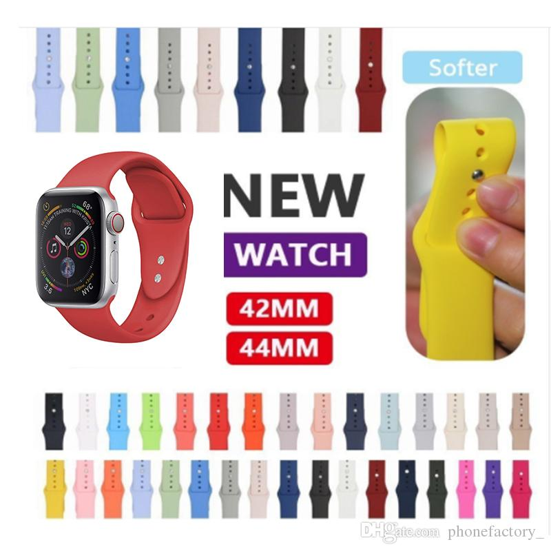 Silikonarmband für Apple-Uhrenarmband Armband 40mm 44mm 42mm 38mm Armband Armband aus Gummi für die Serie 4/3/2/1