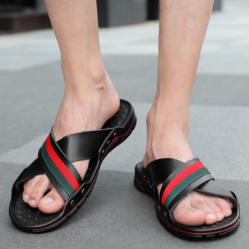 WEH 2020 estiva da uomo Pantofole Vera Pelle Croce Strap Beach Water scarpe da uomo di qualità Pantofole Big Alto formato: 38-47