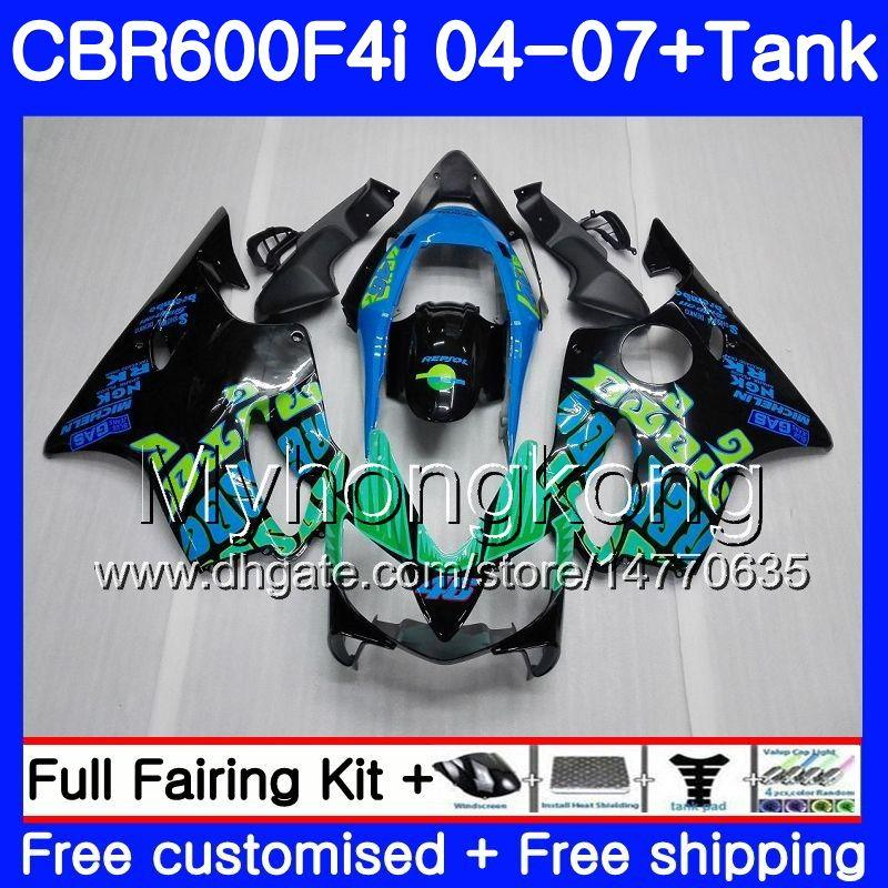 Gehäuse für HONDA CBR 600F4i CBR600 FS CBR600F4i 04 05 06 07 281HM.0 CBR 600 F4i CBR600 F4i 2004 2005 2006 Verkleidungssatz Repsol blau schwarz