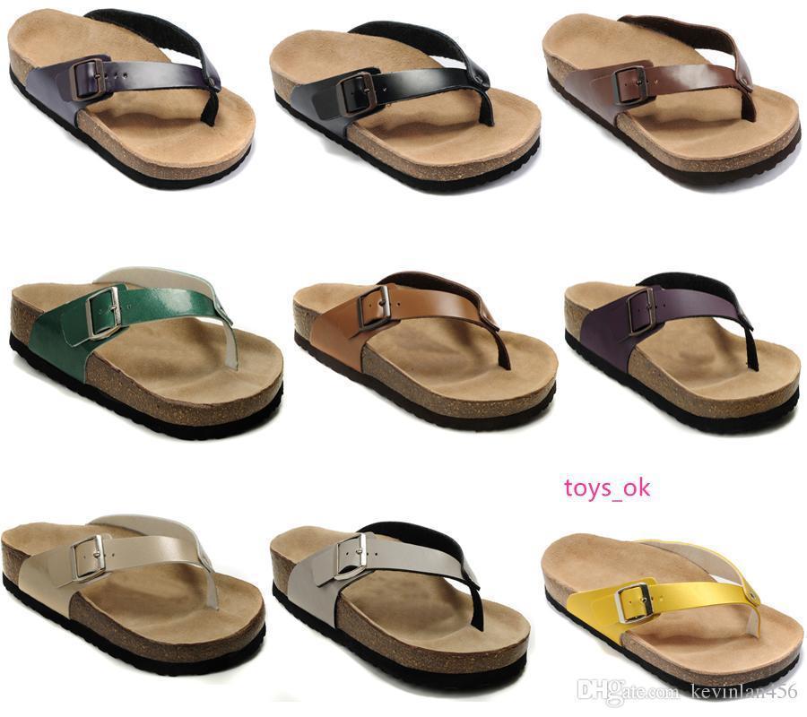 neue Art Flache Sandalen Qualitätsmarke Männer s beiläufige Schuhe der Frauen Weiblicher Sommer Slipper echtes Leder Pantoffel mit Orignal Schuhen Box