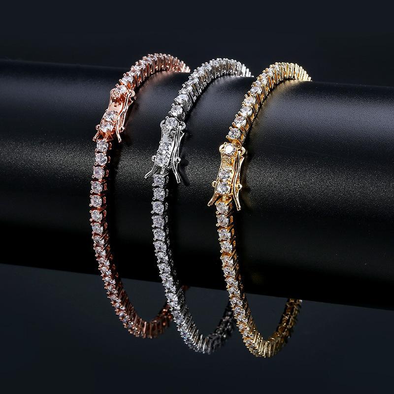 Bracelets de tennis Gold Gold Gold Out Glafe Out Chaîne Bracelet Bracelet Hop Bijoux 3mm