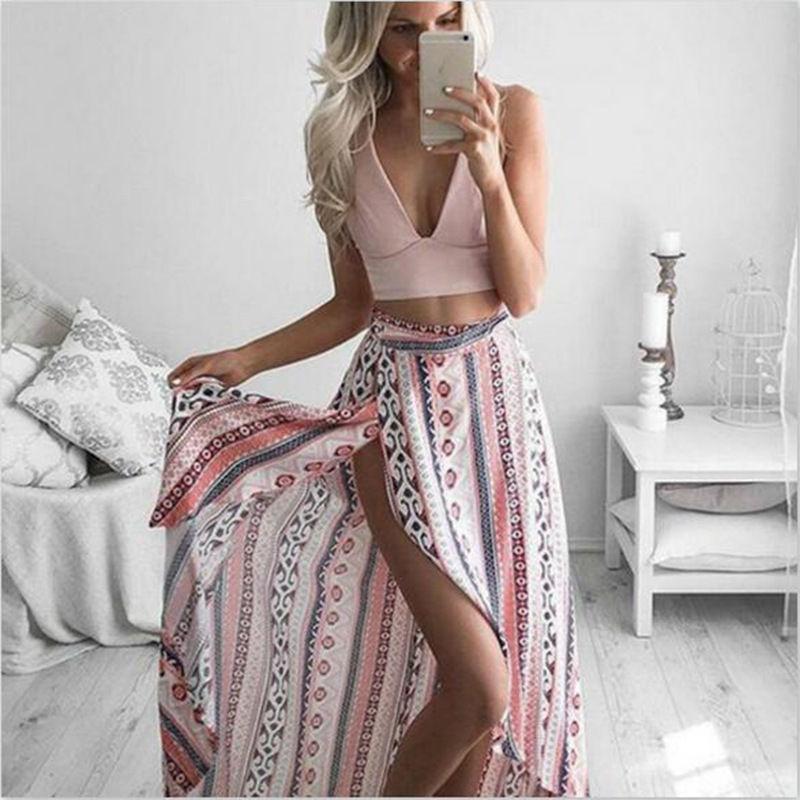 하이 스트리트 새로운 패션 여성 여름 긴 맥시 스커트 보헤미안 비대칭 헴 분할 저녁 파티 비치 캐주얼 여성 의류 치마