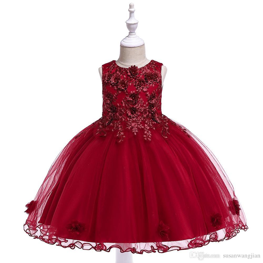 Niños Niños Niñas Fancy Flor linda Rosa Gris Amarillo Rojo Fiesta de verano Formal Moda larga Maxi vestidos Vestidos