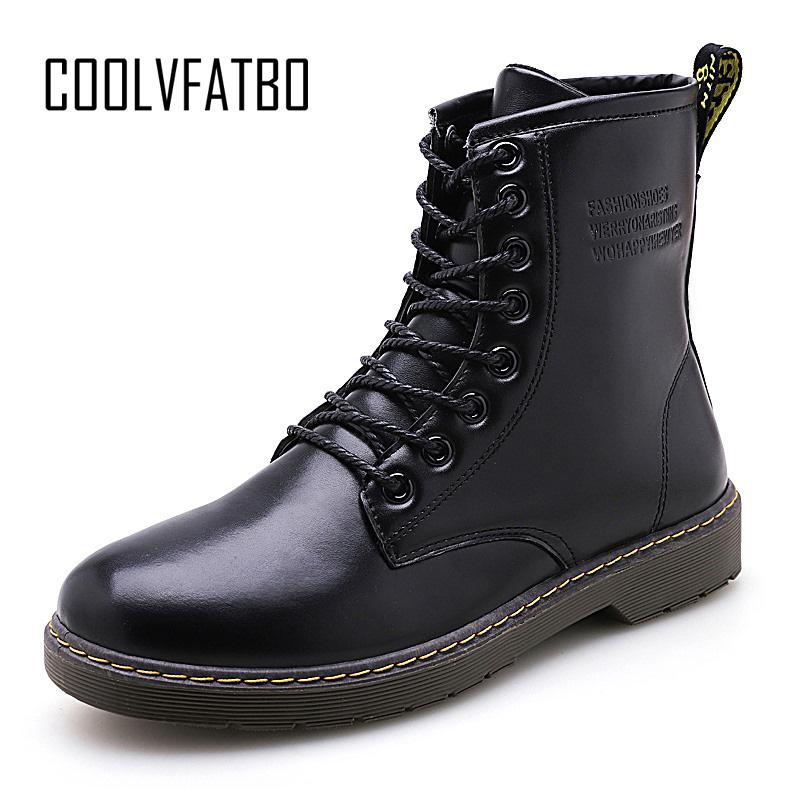 COOLVFATBO Men Boots Winter Warm Leather Shoes Men Motorcycle Ankle Boots Autumn Casual Hombre Plush Oxfords