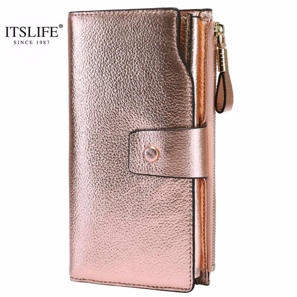 Itslife 2019 Women Genuine Leather Rfid Blocking Functional Wallet Zipper Long Glint Card Holder Ladies Coin Purse Iphone Y19062003