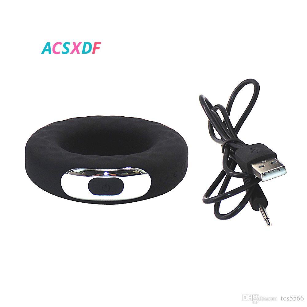 ACSXDF Большой размер 42мм Пенис кольца Вибраторы Силиконовые Cock Ring Delay эякуляция Возведение вибрационный стопорное кольцо Продолжительный секс игрушки для мужчин