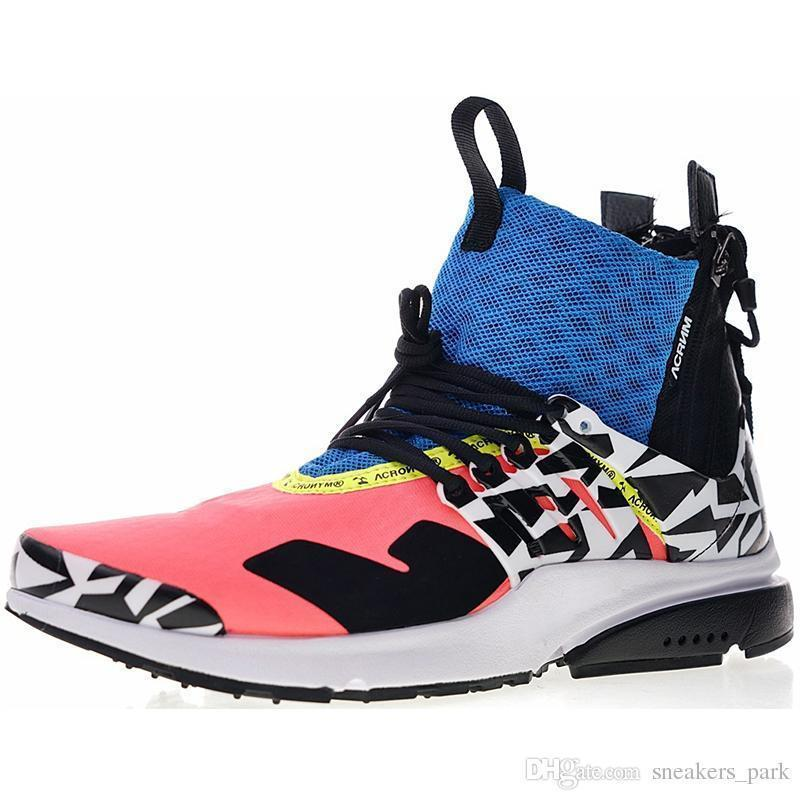 2019 Acronyme X Presto Mid V2 Hommes Courir Racer Rose Cool Gray Darts rue Designer Sneakers Camouflage Graffiti Chaussures