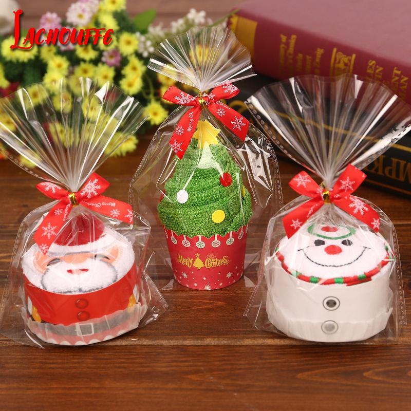Feliz Natal Presente Cupcake Toalha De Algodão Ano Novo Decoração de Natal Decorações para Casa Crianças Crianças 30x30 cm