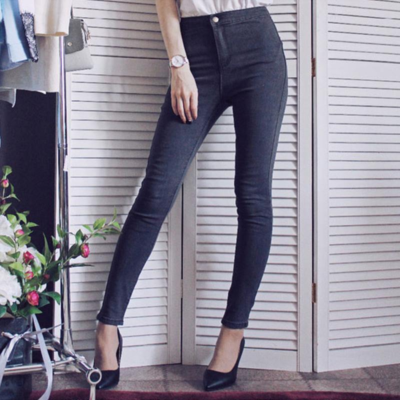 Pantalones vaqueros sólidos ajustados de gran longitud de la vendimia de las mujeres 2018 Nuevo Pantalones de mezclilla de alta Elestic lápiz