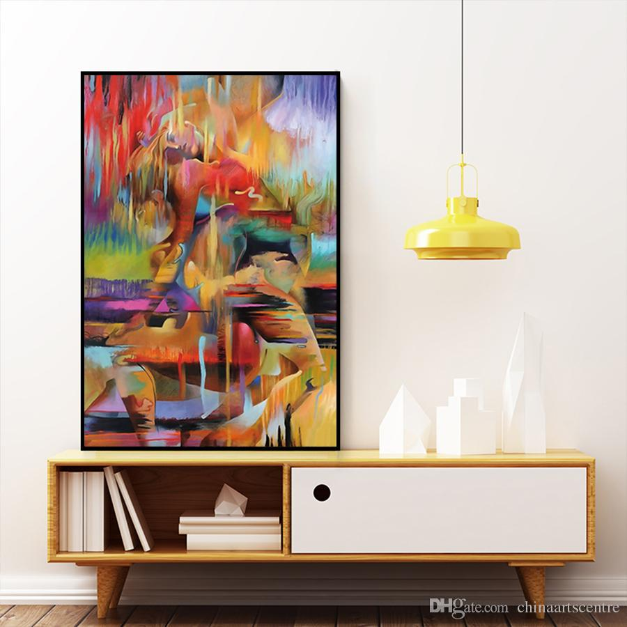 Abstrakte Frau und Mann Körper hochwertige handbemalte HD Print Wand Kunst Ölgemälde auf Leinwand Home Office Dekoration P124