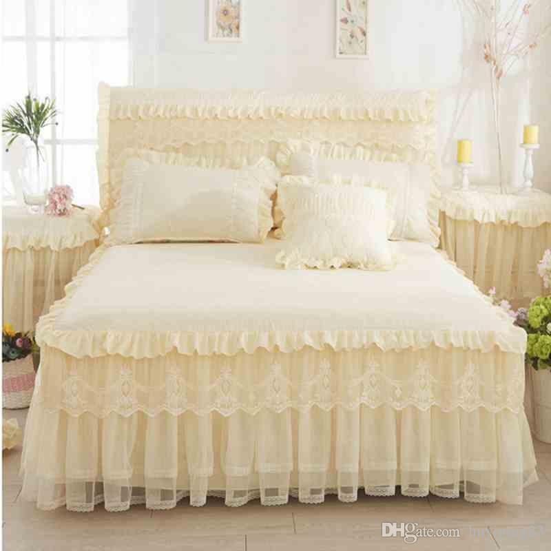Bege Princesa Rendas Colcha Cama Saia 3 pçs / set Babados cama folha de Cama de Algodão Fronha Casa Decorativa Twin / Queen / King Size