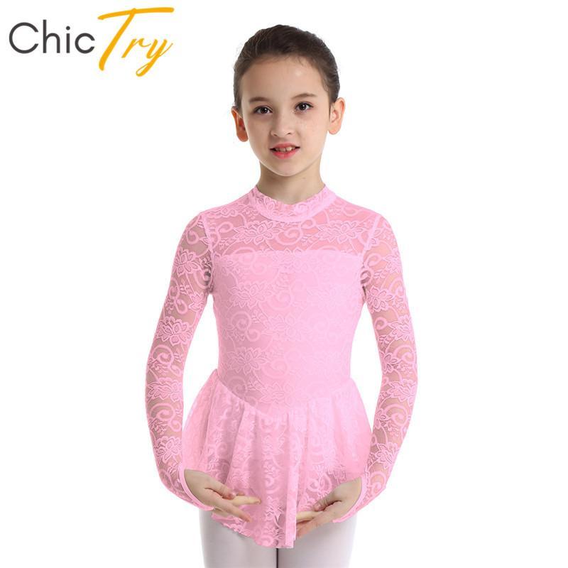 ChicTry Enfants Ados Filles à manches longues à col en dentelle florale gymnastique Léotard Ballet Vêtements de Danse Costume Patinage artistique Robe