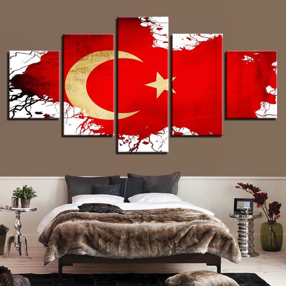 Холст HD стены искусства плакат современный 5 панель турецкий флаг гостиная печать живопись модульная домашнего декора фотографии