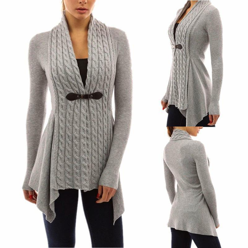 Cardigan per le donne Twist Maglione del cappotto del rivestimento casuale Autunno a maniche lunghe Taglie Xl femminile maglioni Outwear Tops