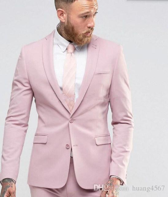 New Back Vent Due Bottoni Pink Wedding Groom Tuxedos Notch Bavero Groomsmen Uomo Abiti Prom Blazer (Giacca + Pantaloni + Cravatta) 130