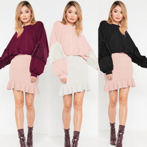 Moda Kadın Kürk Uzun Kol Kazak Uzun Kollu Bayan Bluz Jumper Kazak Coat Tops