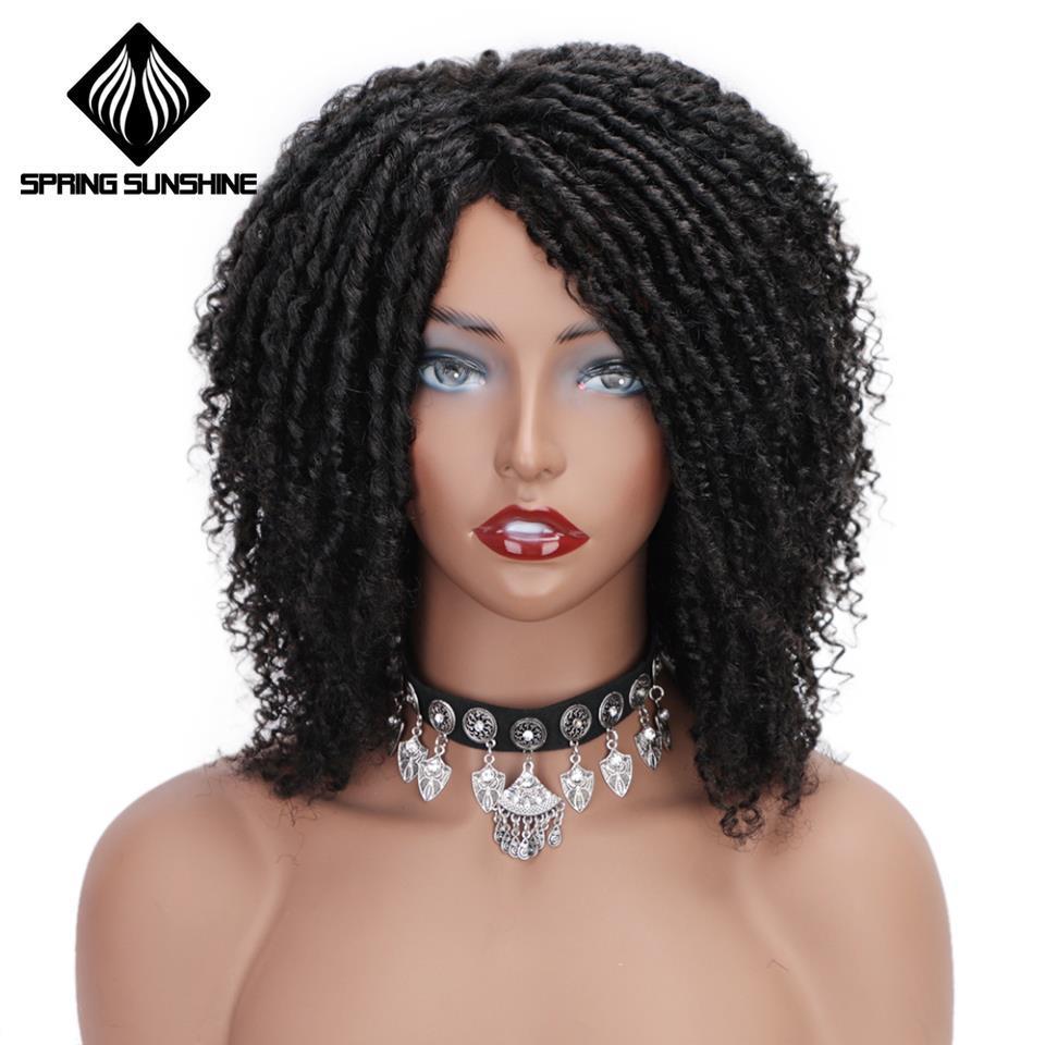 Suaves Dreadlock Ombre Burg Perucas 6inch curto sintético perucas para mulheres negras de alta temperatura fibra Faux Locs Crochet torcer cabelo