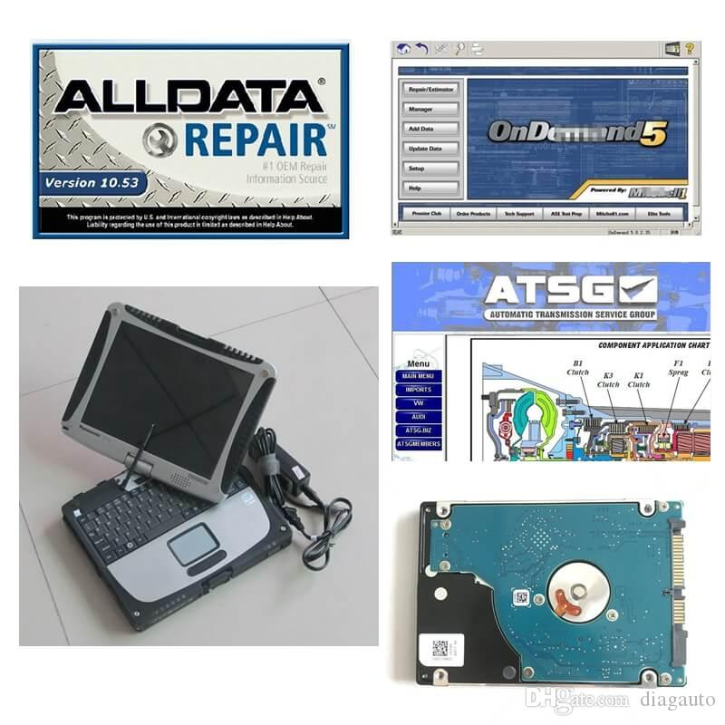 All Data Installed Touch Screen CF-19 4GB Laptop Auto Repair Alldata Soft-ware V10.53+Mit 2015 + ATSG in 1TB HDD Ready to Use