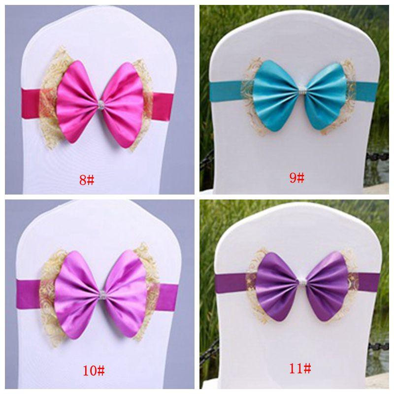 Bowknot Wedding Chair Cover Sashes Elastic Spandex Bow Chair Band With Buckle For Weddings Banquet Party Decoration Accessories DBC BH2670