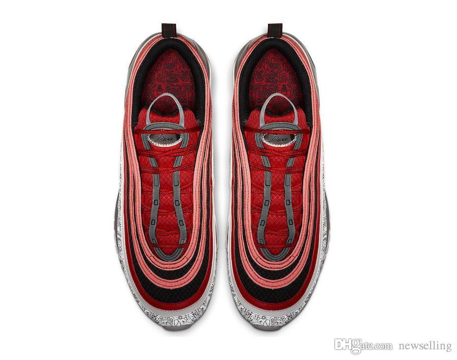 Acheter Nike Air Max 97 97s La Bande Dessinée Deuce Jayson Tatum Graffiti Celtics Chaminade College Noir Rouge Blanc OG Chaussures De Course Original